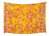 Kascha Sarong Pareo Wickelrock Strandtuch Tuch Wickeltuch Handtuch - Blickdicht - ca. 170cm x 110cm - Rot Gelb Batik mit Sonne Motiv Handgefertigt inkl. Kokos Schnalle in runder Form