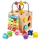 Giplar Cubo in Legno attività Varie - Orologio Apprendimento, Spiralboard, Spirale per Motricità, Conteggio dei Fotogrammi, Xilofono