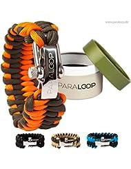 PARALOOP Survival Paracord-Armband - inkl. GESCHENKVERPACKUNG - 100% Handarbeit - mit verstellbarem Edelstahlverschluss - für Outdoor-Liebhaber