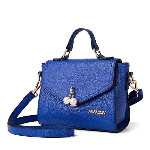Borse, versione personalizzata di moda coreana della borsa, l'atmosfera dello zaino obliqua selvatico, borsa a tracolla, pacchetto di marea ( Colore : Rosso ) Blu zaffiro
