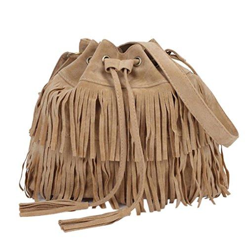 Saingace Frauen Kurier-Frauen-Art- und Weisebeiläufige Troddel-feste Beutel Drawstring Schulter-Beutel Handtaschen Schultertasche Freizeitrucksack Tasche Rucksäcke (Khaki) (Troddel Handtasche Drawstring)