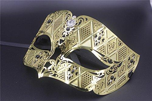 Maskerade,Export Ball Maske gehobene Metall Maske Party Maske Venedig Diamant goldene Maske männlich Gold ()