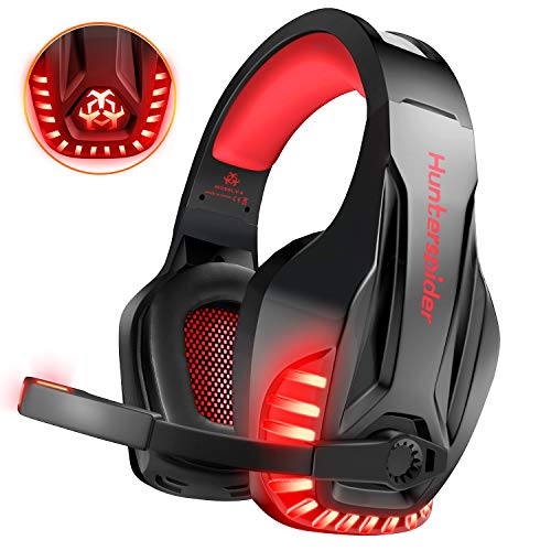 PS4 Headset, DIZA100 PC Gaming Headset Over-Ear Gaming Kopfhörer with Mic LED Light Noise Cancelling for Laptop Mac Nintendo Switch Xbox One (Red) Sony 16 Pin