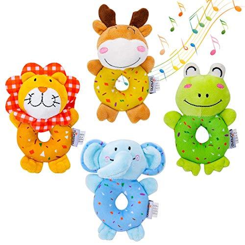 Tumama giocattoli per bambini per 3, 6, 9, 12 mesi sonagli di animali di peluche morbidi e carini per impugnatura per lo sviluppo di neonati e bambini, 4 pezzi