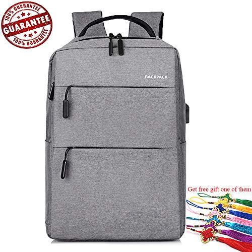 Uflyay zaino per laptop con porta di ricarica usb - zaino da viaggio per computer portatile borsa da scuola - borsa da studente per 16 pollici - resistente all'acqua e resistente (gray)