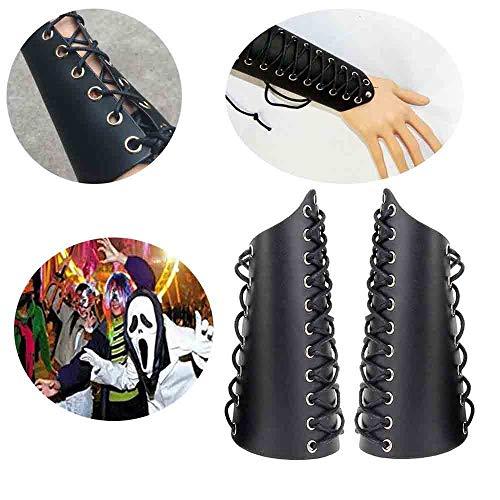 WXH 2 STÜCKE Handgefertigte Lederarmschützer, Stulpenarmband mit breiter Armschiene, Beinschutzgamaschen, Unisex-Kunstleder, Bündelseilausrüstung,Black (Mittelalterliche Theater Kostüm)