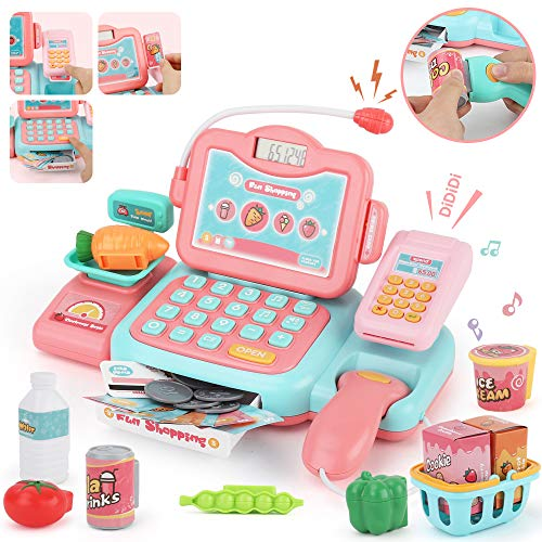JoyGrow Smart Cash Register Pretend Play Toys with Calculator,Scanner,Money,Credit Card and Realistic Action and Sounds Educational Toys for Kids and Preschoolers