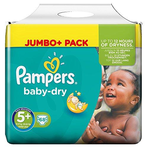 Preisvergleich Produktbild Pampers Baby-Dry Windeln Größe 5 Plus (Junior Plus) 13-27 kg, 1er Pack (1 x 68 Stück)