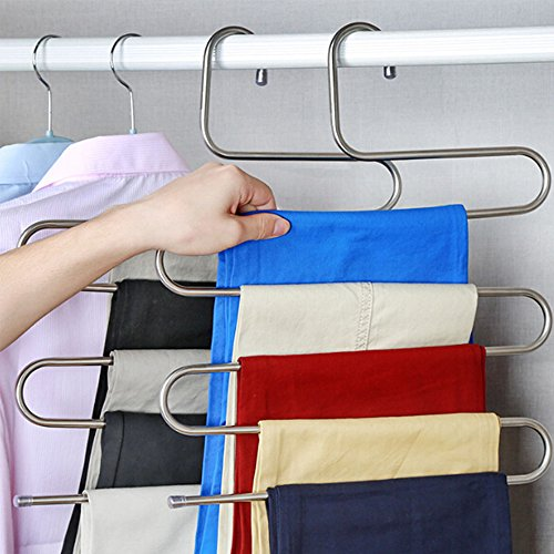 4 Stück kleiderbügel aus Edelstahl Platzsparend Hosenbügel für 5 Hosen (Kleider Schrank Organizer)