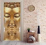 3d porta murale cinese buddha dorata statua carta da parati murale stampa della parete della decalcomania della parete murale foto autoadesivo porta 80X200 cm