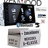 Mercedes A-Klasse W169 Audio 20 - Autoradio Radio Kenwood DMX110BT - 2DIN Bluetooth | USB | MP3 | 7' TFT Einbauzubehör - Einbause