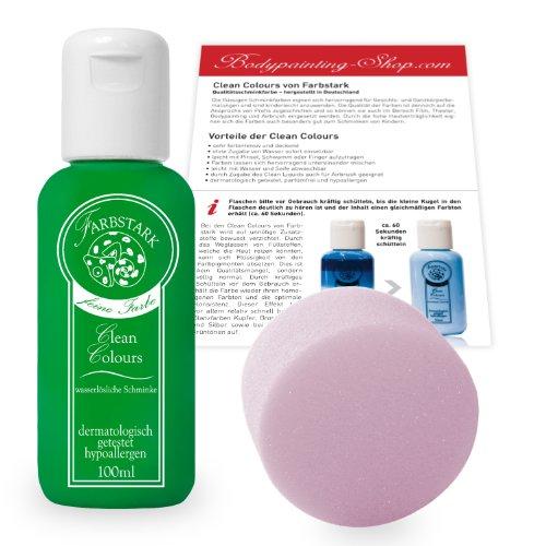 Farbstark Bodypainting Farben - hautfreundliche Körperfarbe in Profi Qualität (auch für Airbrush geeignet), Set: 100 ml Farbe Hellgrün + Schminkschwamm