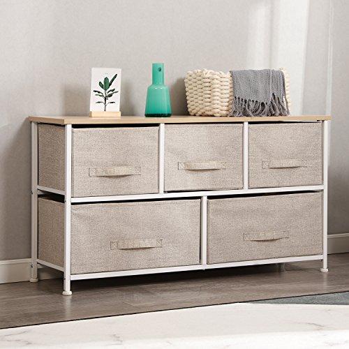 DlandHome Armario de almacenaje Cómoda Organizador con 5 cajones/Cajas de Almacenamiento de Tela para el Dormitorio, la habitación o el lavadero, Beige