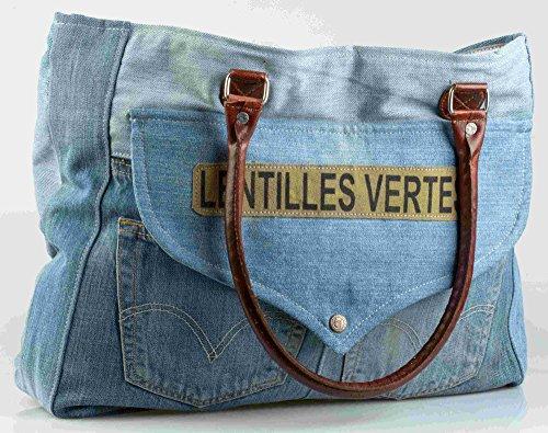 'Sac Jeans cuir synthétique avec anses lentilles \\