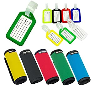 CSTOM® Luggage Tags Neoprene Suitcase Handle Wrap Grips Travel Accessories Label Tag