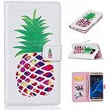 Guran® PU Housse En Cuir pour Samsung Galaxy S7 Edge (5,5 Pouces) Smartphone Flip Cover Étui Debout Fonction et Fente Porte-cartes Cas-ananas