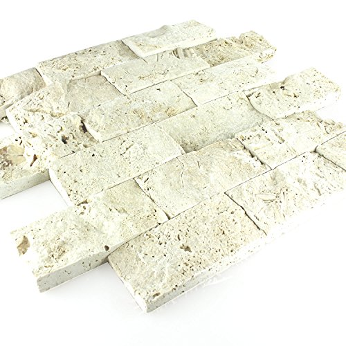 Travertin Naturstein 3D Mosaik Fliesen Chiaro Brick - Getrommelt Travertin Fliese