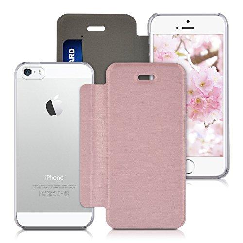 kwmobile Hülle für Apple iPhone SE / 5 / 5S - Bookstyle Case Handy Schutzhülle Kunststoff - Flipcover Klapphülle Mintgrün Transparent .Rosegold Transparent