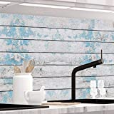StickerProfis Küchenrückwand selbstklebend - BLAUES Design Holz - 1.5mm, Versteift, alle Untergründe, Hart PET Material, Premium 60 x 80cm