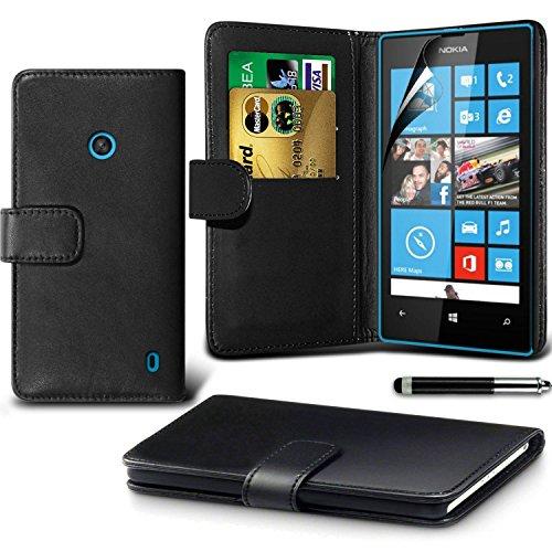 Microsoft Lumia 640 Black Farbe PU Lederetui Buch-Stil Handy Hülle mit Displayschutz-Folie & Eingabestift von Gadget Giant®
