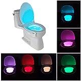 Lumière LED pour abattant de toilettes - 8couleurs, veilleuse, détecteur de mouvement