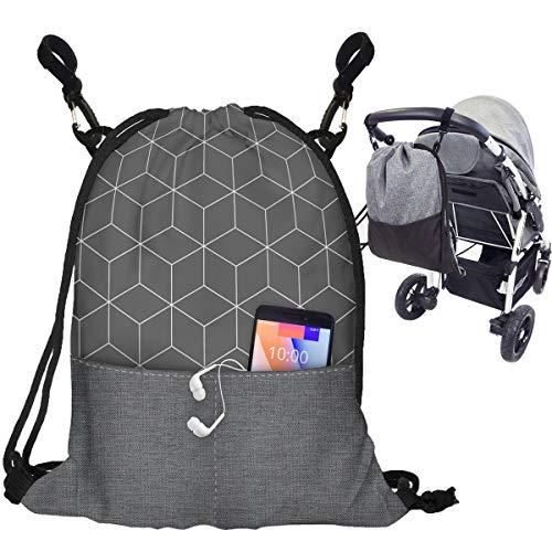 Kinderwagen Organizer Buggy Tasche Baby Wickeltasche Trolley Kinderwagentasche mit Befestigungshaken Modische Universal Turnbeutel Organizer Für Mutter Würfel 2 [075]