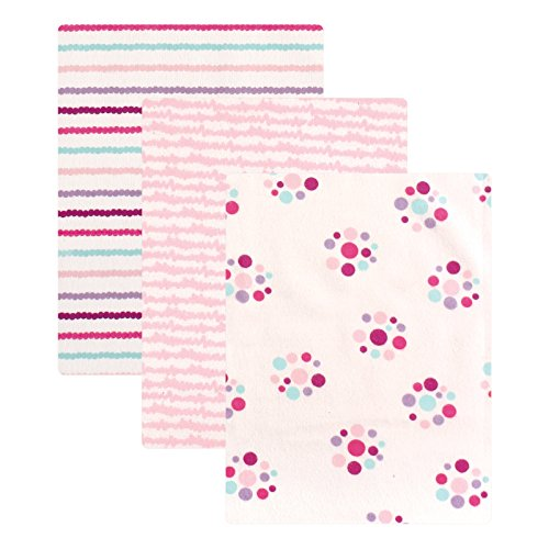 Luvable Friends Flannel 3 Piece Receiving Blankets, Girl Dots