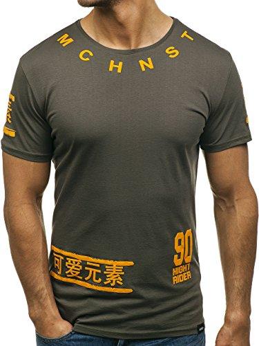 BOLF Herren T-Shirt mit Rundhalsausschnitt Aufdruck Motiv Casual Style MACHNIST PL101 Grün S [3C3] | 05902646853932