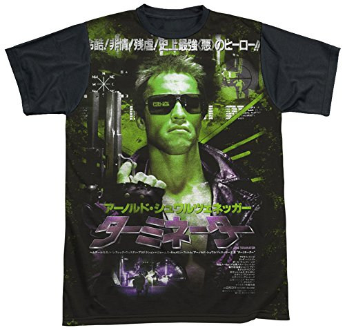Stab & wound The Terminator 80s Sci-Fi Action Film Japanese Poster Adult Black Back T-Shirt T