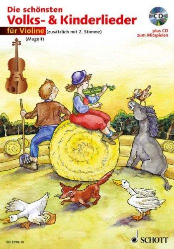 Die schönsten Volks- & Kinderlieder, Notenausg. m. Play-Along-CDs, Für Violine, m. Audio-CD