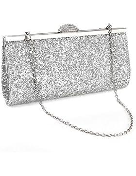 Glitzer Damentasche Sequin Abendtasche Hand- Kettetasche mit strassschnalle?silber