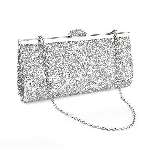 Surepromise Strass Umhängetasche Glitzernd Tasche Damen Glitzer Abendtasche Kette Crystal Handtasche für Party Hochzeit (Silber)