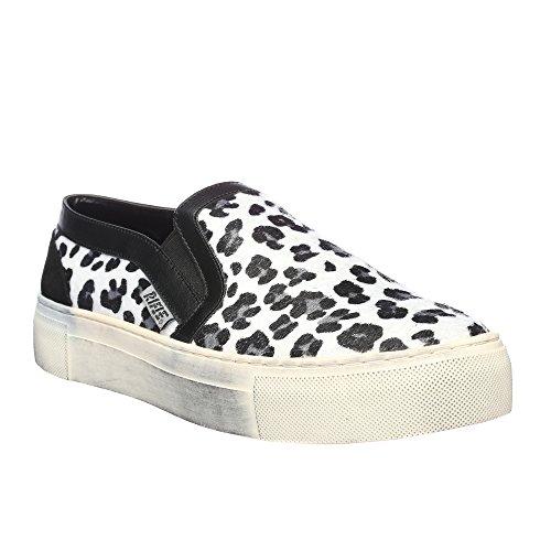 RIFLE Chaussures plates sans lacets pour femme. mod. 162-W-340-342 Leopard Blanc - Noir