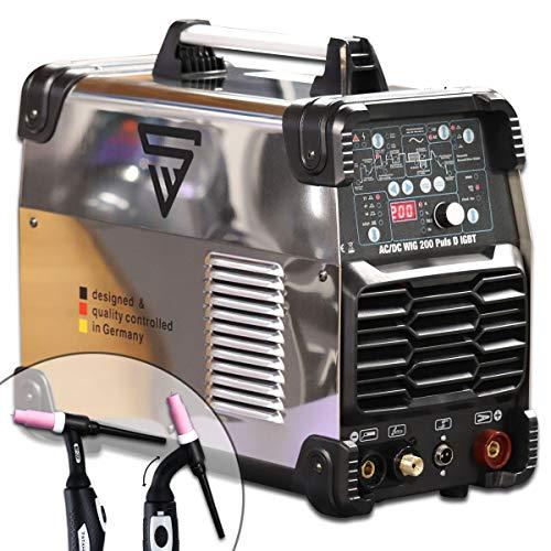 STAHLWERK AC/DC WIG 200 Puls D IGBT Chrom, digitales Schweißgerät mit 200 Ampere WIG & MMA, Job-Speicher, ALU & Dünnblech geeignet, weiß, 5 Jahre Garantie