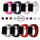 Iyou Sport Band pour Apple Watch Band, bracelet de rechange en silicone souple classique Sport Sangle pour iWatch 2017 Apple Watch Série 3/2/1, Edition, Nike +, tous les modèles 38 mm/42 mm Plus de couleurs choisir, A-8 Colors, 42MM, S/M