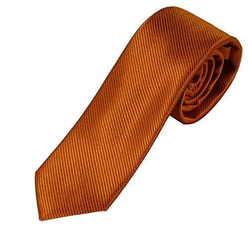 Krawatte blau 100% Seide - Pietro Baldini Krawatten handgefertigt (Dunkelorange)