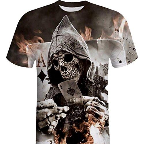 Lenfesh Camisa de Manga Corta de la Camiseta de la Manga de la Camiseta de la Impresión del Cráneo 3D para Hombre Barata Deportiva 2018 Ofertas