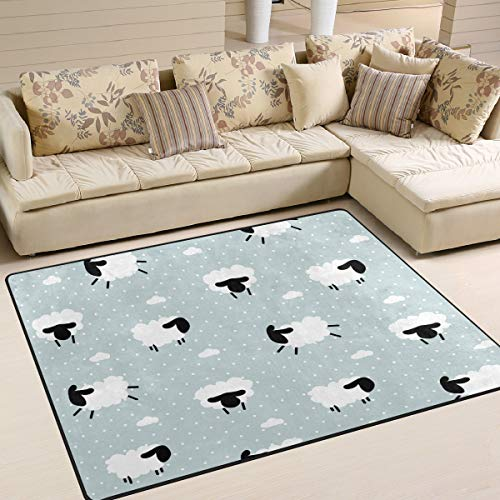 JSTEL INGBAGS - Alfombra para habitación Infantil (160 x 120 cm), diseño de Lunares con ovejas y Nubes, Ideal para decoración del hogar, 80 x 58 Inch