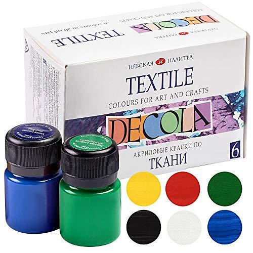 Nevskaya Palitra Textilfarbe Set | 6 x 20 ml | Stoffmalfarben waschfest | Qualität von Decola -