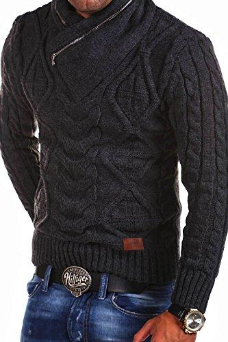 MT Styles Strickpullover mit Schalkragen Pullover MT-750 Dunkelgrau