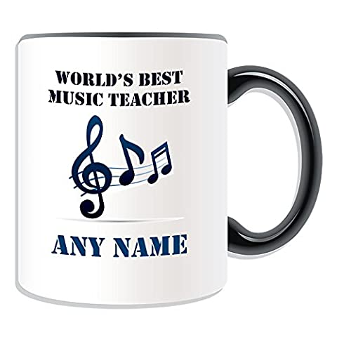 Personalised Gift - World's Best Music Teacher / Stave and Notes Mug (Academic Design Theme, Colour Options) - Any Name / Message on Your Unique - School College
