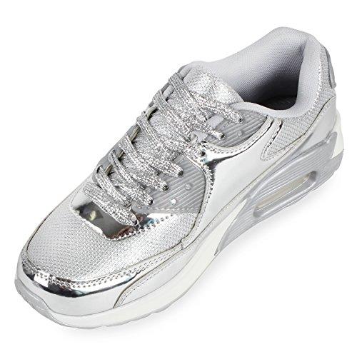 Trendige Unisex Laufschuhe | Damen Herren Kinder | Sportschuhe Metallic Glitzer | Camouflage Sneaker Bunt | Schnür Sport Turnschuhe Silber