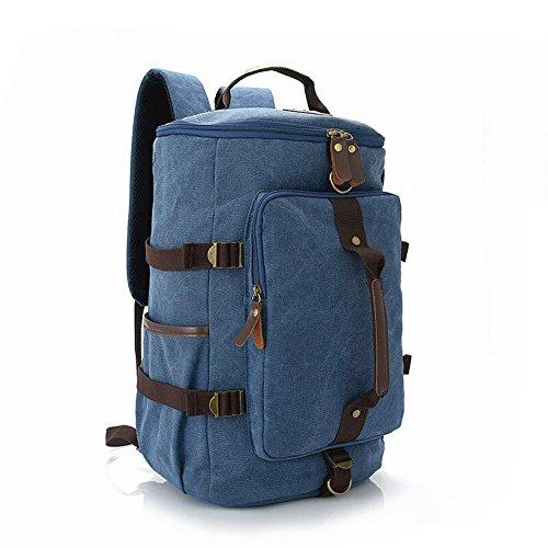 Wildlead Fashion Herren Großer Kapazitäts Reise Wandern Rucksack Bergsteigen Tasche Segeltuch Eimer Umhängetaschen Blau