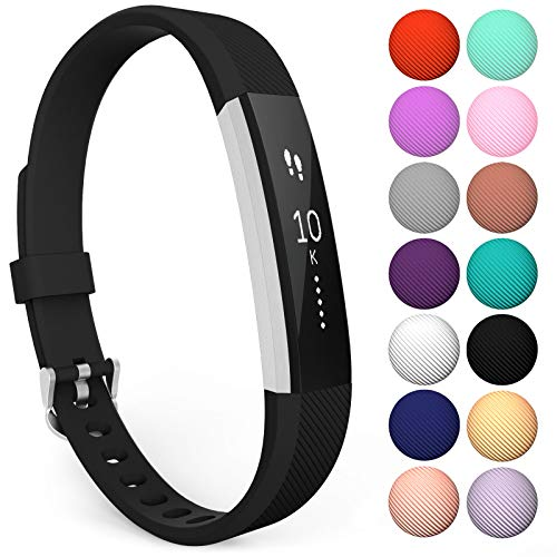 Yousave Accessories® Armband kompatibel für Fitbit Alta und Alta HR, Ersatzarmband - Silikon Wristband Zubehör für Alta und Alta HR - Erhältlich in 11 (Groß, Schwarz)