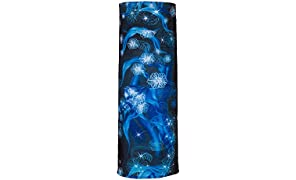 Autofy Flower and Wildfire Print Lycra Anti Pollution Arm Sleeve Headwrap Riding Gear Sweat Abosorber for Men Women (Blue and Black, Free Size)