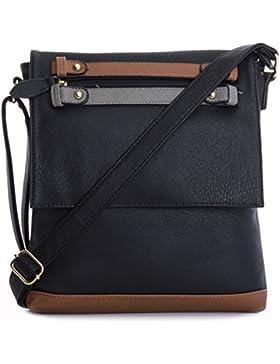 Big Handbag Shop Damen Umhängetasche aus Kunstleder mit Laschenöffnung