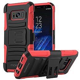 MoKo Samsung Galaxy S8 Funda - Cuerpo de la Resistente Funda Giratoria con Clip de la Correa Resistente Choque de Doble Capa para Samsung Galaxy S8 2017 5.8 Pulgadas Smartphone, Rojo