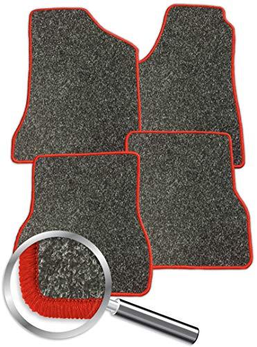 Fussmatten grau-meliert Rand rot passend für Honda Accord 7. Generation 2002-2008 4-teiliges Set