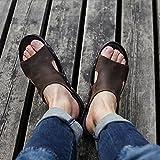 Roman Slipper Sandalo Uomo Scarpe da spiaggia Open-Toe Progettato Morbido in vera pelle Antiscivolo confortevole Vintage (39-44 dimensioni) (Colore : Marrone, dimensioni : 40)