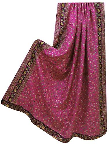 VintageandYou Indian 100% Seide Weinlese-Verpackungs-Stola mit Blumenmustern Craft Stoff Rosa Dupatta